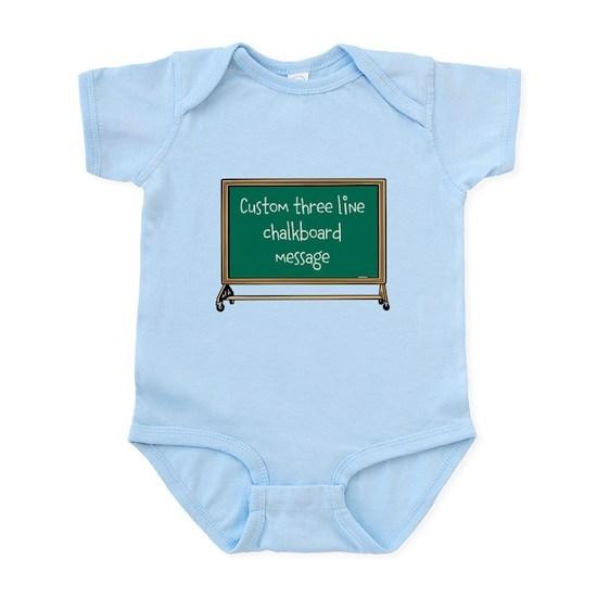 ee4978643 Custom Three Line Chalk Board Message Design Baby Light Bodysuit ...