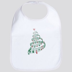 Christmas tree with music notes and heart Bib