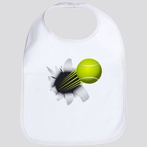 Tennis Ball Flying Out Of Hole Baby Bib