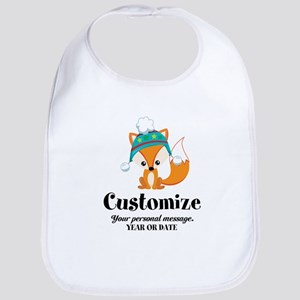 Custom Christmas Fox Cotton Baby Bib