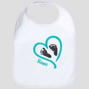 Baby Heart Blue Personalized Baby Bib