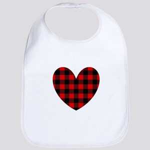 Buffalo Plaid Heart Baby Bib