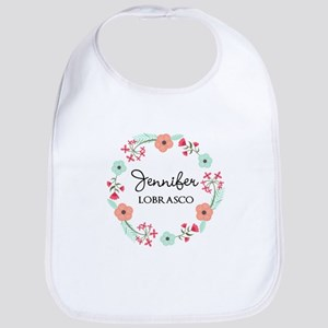 Personalized Floral Wreath Baby Bib