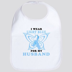 I Wear Light Blue for my Husband Bib
