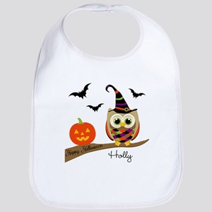Custom name Halloween owl Bib