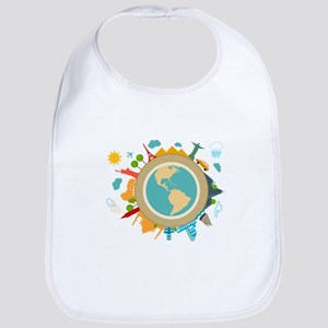 World Travel Landmarks Bib