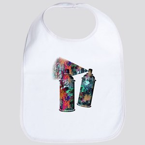 Graffiti and Paint Splatter Spray Cans Baby Bib