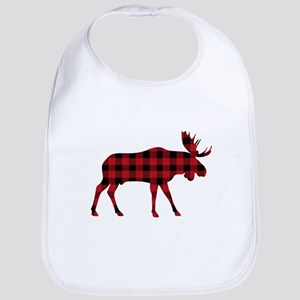 Plaid Moose Animal Silhouette Bib