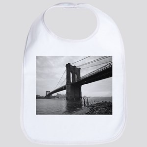 Brooklyn Bridge Black and White Photograp Baby Bib