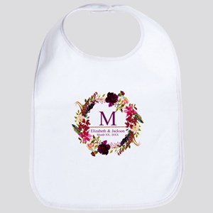 Boho Wreath Wedding Monogram Baby Bib