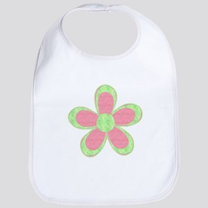 Pink and Green Flowers Bib