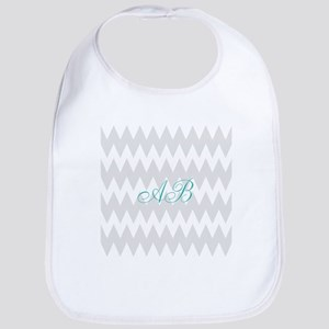 Gray Chevron Teal Monogram Bib