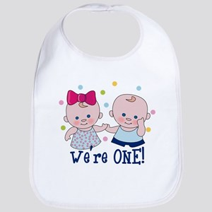 Were One Boy Girl Cotton Baby Bib