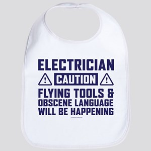 Caution Electrician Baby Bib