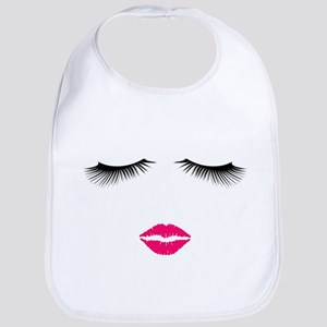 Lipstick and Eyelashes Bib