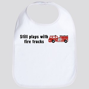 Still plays with fire trucks Bib