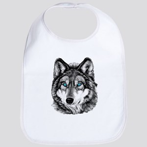 Painted Wolf Grayscale Bib