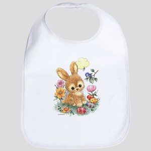 Cute Easter Bunny with Flowers and Eggs Baby Bib