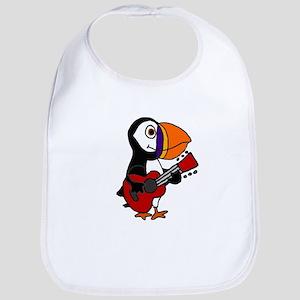 Funny Puffin Bird Playing Guitar Baby Bib