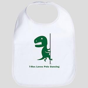 T-Rex Loves Pole Dancing Bib