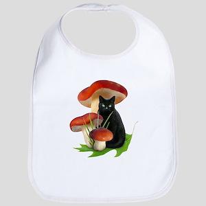 Black Cat Red Mushrooms Bib
