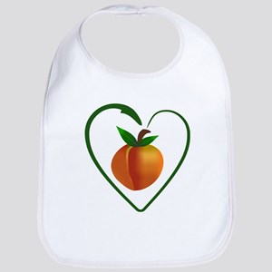 Peach and heart design Bib
