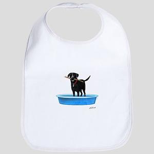 Black Labrador Retriever in kiddie pool Bib
