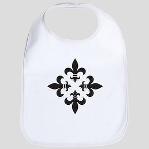 Black and White Fleur de Lis Design Baby Bib