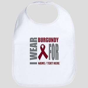 Burgundy Awareness Ribbon Customiz Cotton Baby Bib