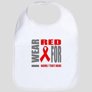 Red Awareness Ribbon Customized Cotton Baby Bib