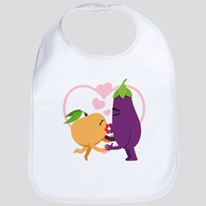 Emoji Eggplant and Peach Romantic Cotton Baby Bib