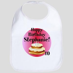 Personalized Name/Age Birthday Cake Pink Bib