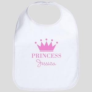 Personalized pink princess crown Bib