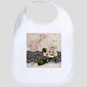 paris black lace white rose Bib
