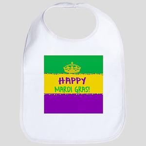Happy Mardi Gras Crown and Beads Bib