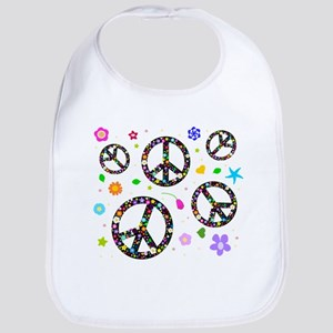 Peace symbols and flowers pat Bib