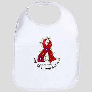 Flower Ribbon HIV AIDS Bib