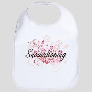 Snowshoeing Artistic Design with Flowers Bib