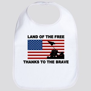 Land Of The Free Thanks To The Brave Bib