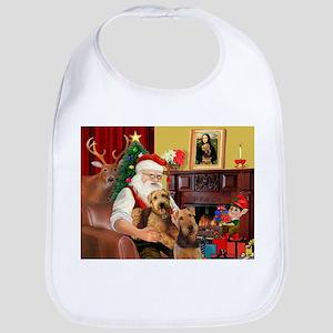 Santa's Two Airedales Bib