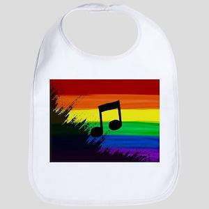Musical note gay rainbow art Bib