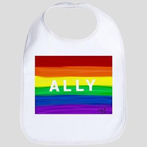 Ally gay rainbow art Bib