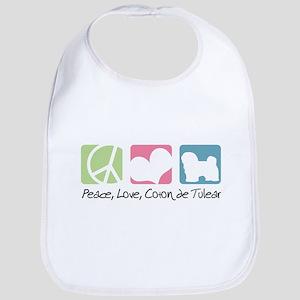 Peace, Love, Coton de Tulear Bib