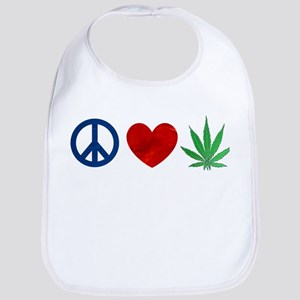 Peace Love Weed Bib