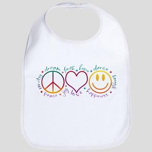 Peace Love Laugh Bib