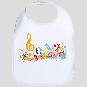 Colorful musical notes Bib