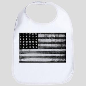 American Vintage Flag Black and White horizont Bib