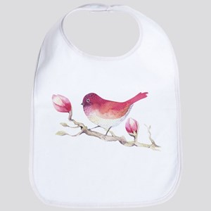 Pink Sparrow Bird on Magnolia Flower Bran Baby Bib