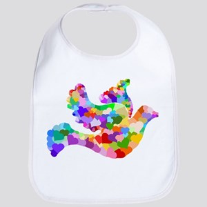Rainbow Dove of Hearts Bib