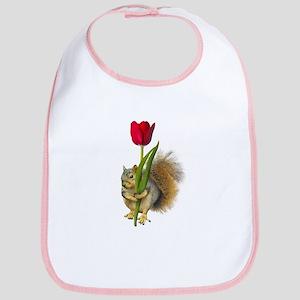 Squirrel Red Tulip Bib